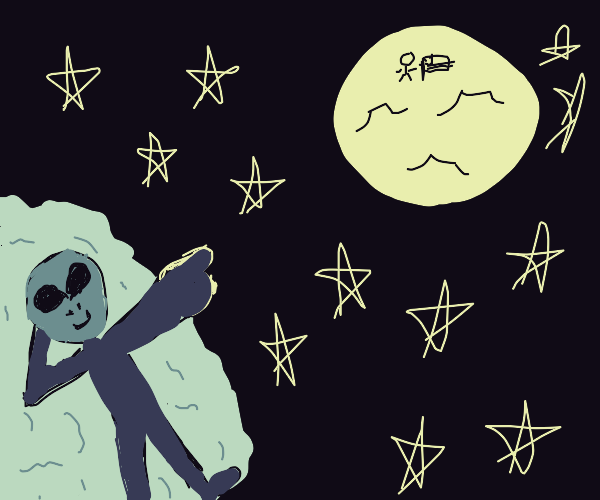 Blue alien pointing at the night sky and moon