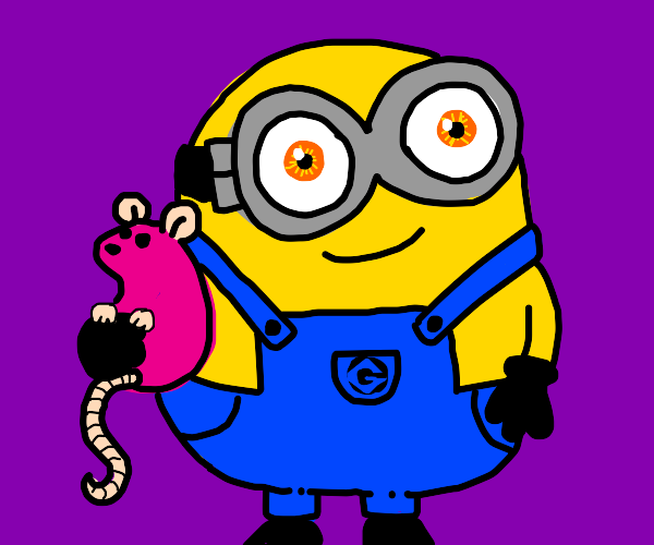 minion from mega mind is holiding a pink rat
