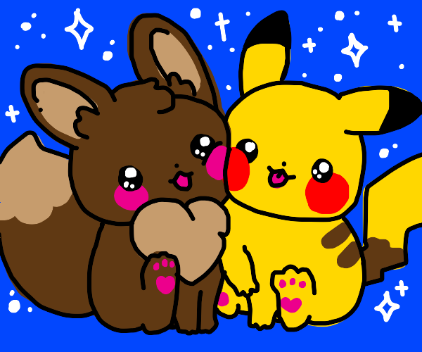 pikachu and eevee hanging out together