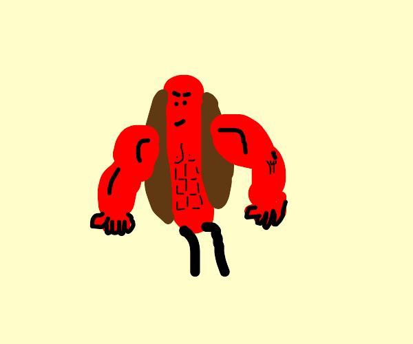 Tough guy muscular hot dog