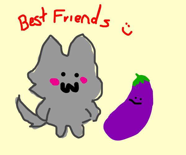 kawaii werewolf is best friends with eggplant