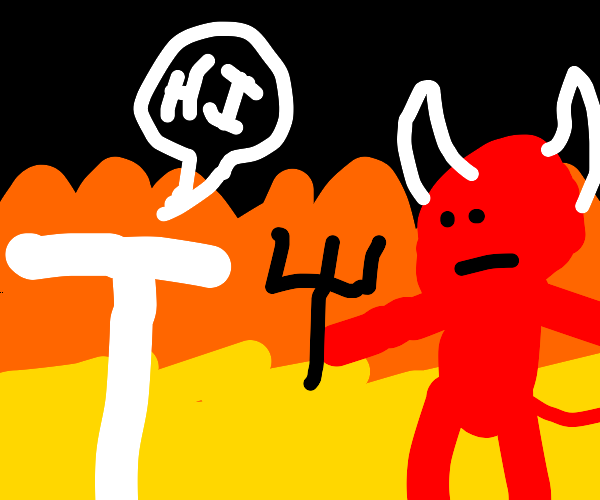 """Giant letter """"T"""" in burning hell, with devil"""