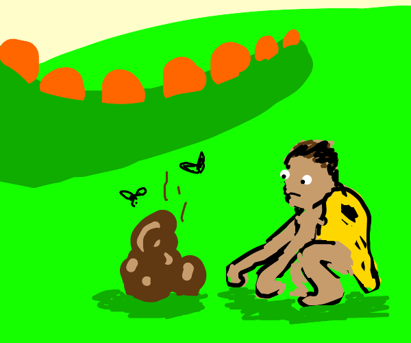 Caveman watching Dinosaur Dung with two flies
