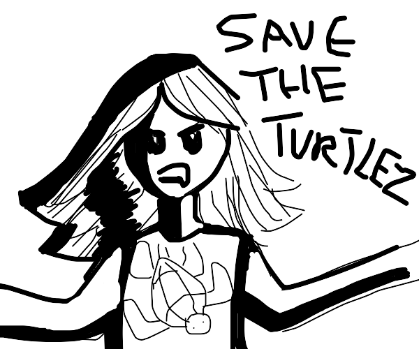 angry person wanting to save turtles