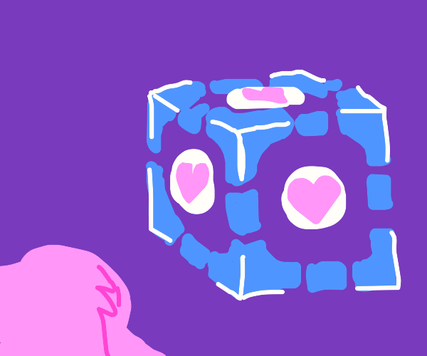 Girl looking at a companion cube