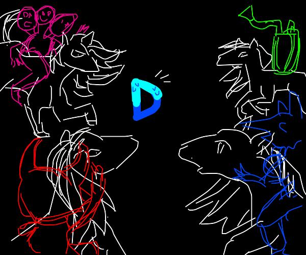 The four horsemen og Drawception