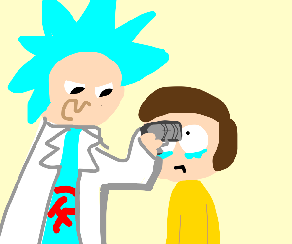Double agent Rick holding Morty at gunpoint