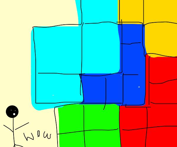 Guy shocked at Tetris blocks