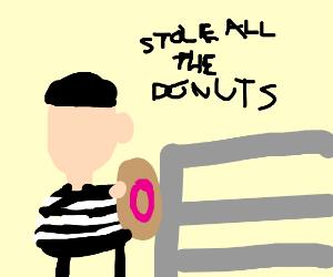 burglars steeling donuts