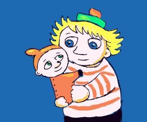 blonde mother carreses child
