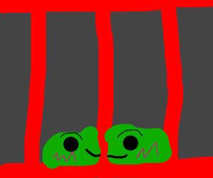green blob behind red cell wall
