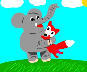elephant hugging a fox