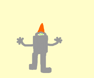 creepy green eyed statue with orangeheadpiece