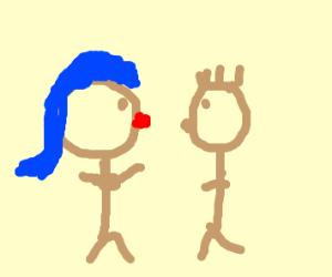 Blue hair girls getting ready to kiss