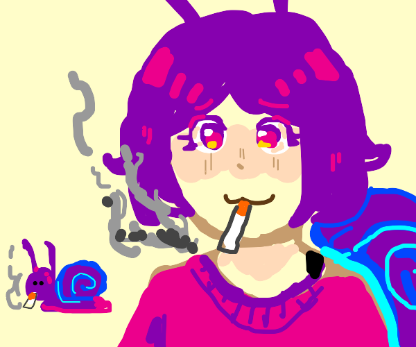 illegal smoking done by snail-Chan