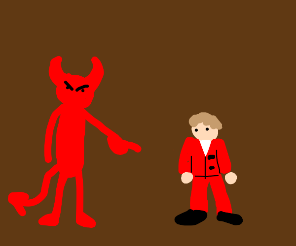 Demon points at little guy in red suit