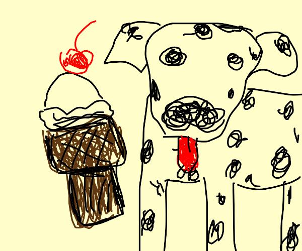 Dog and chocolate ice cream cone