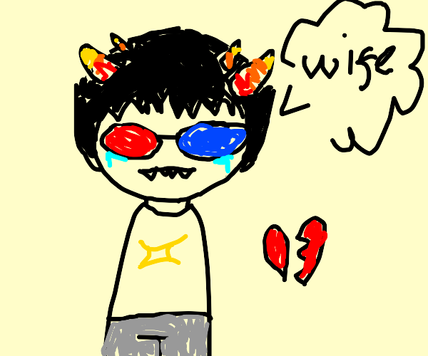 the 3d glasses guy from homestuck misses wife