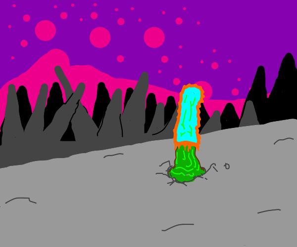 Alien mushroom in pointy landscape looking up