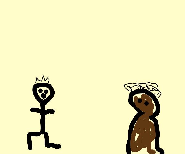 farmer runs away from dark entity