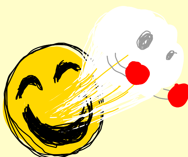 Boxer ghost emerges from smiley face