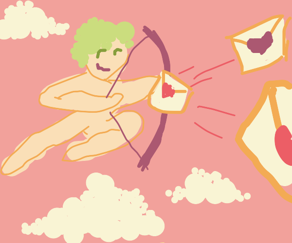 A cupid sending out his letters