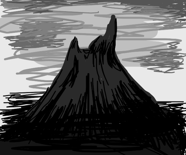 Black and white volcano