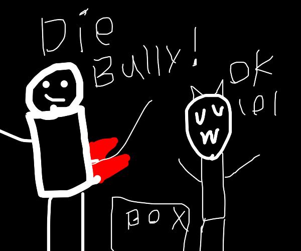 Winning vs. the bully w/tiny ruby glove: FAIL