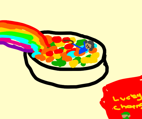 Grandma in a bowl of lucky charms with rainbo