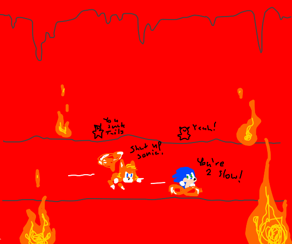 Sonic and tales fight to the death in hell