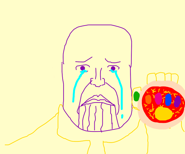 thanos crying with a pizza