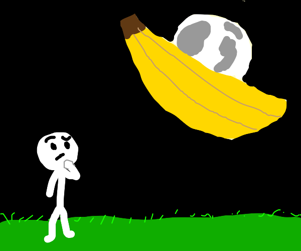 Man is concerned about the flying moon banana