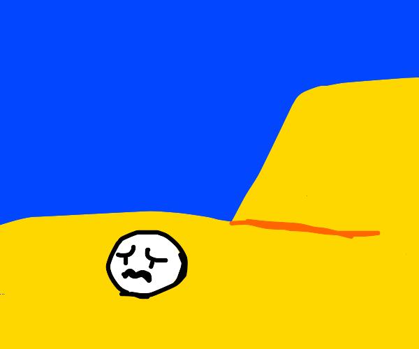 A head in the Sahara desert