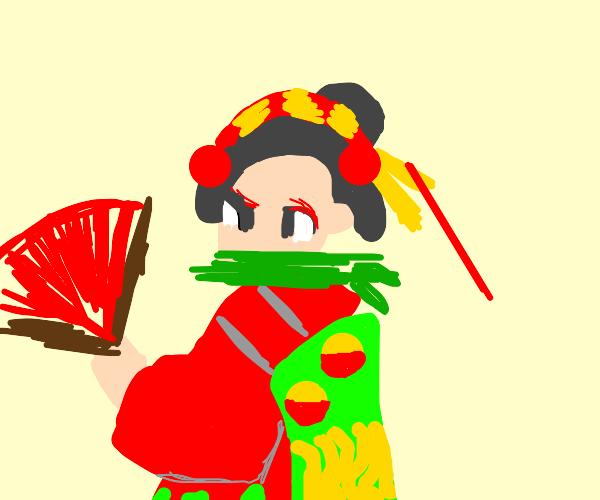 Kimono girl with bamboo mouth