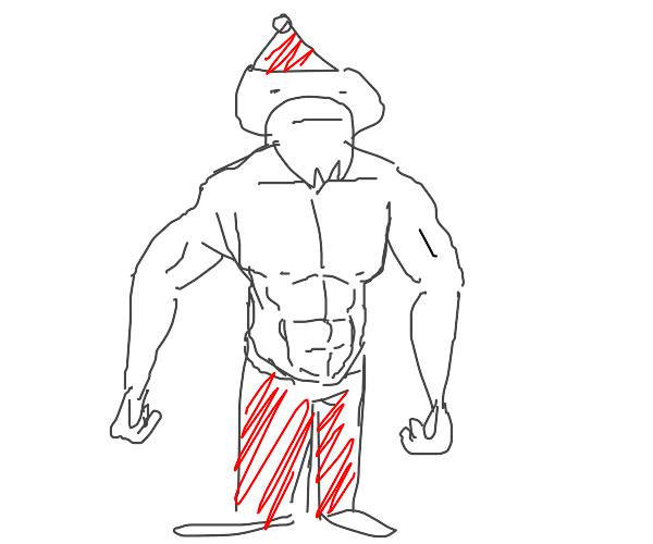 No shirt santa