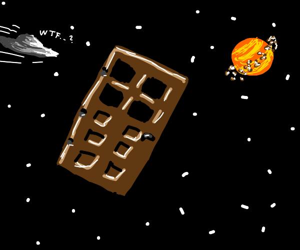 Minecraft door in space