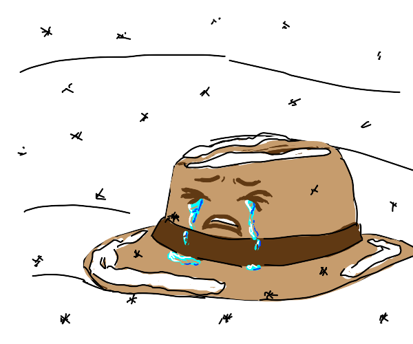 Crying hat in snow