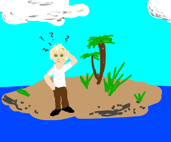 A person stuck on an island confused