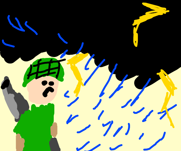 Soldier in a Thunderstorm