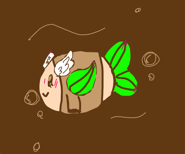 Fish with leaf fins and wings wearing a shirt