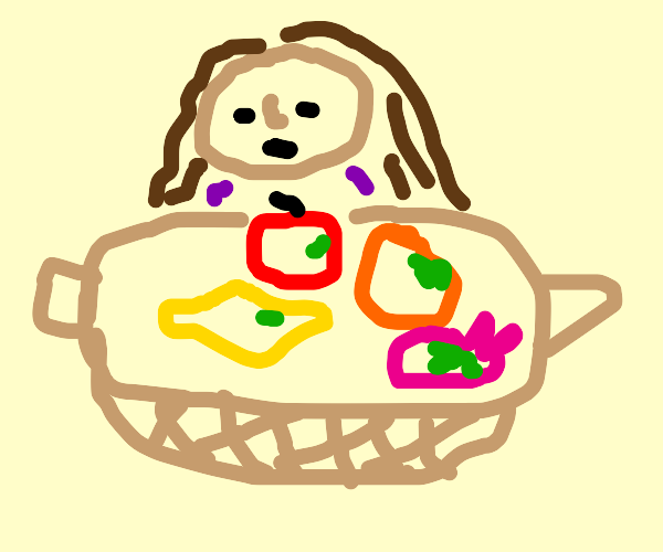 Girl with moldy items in basket