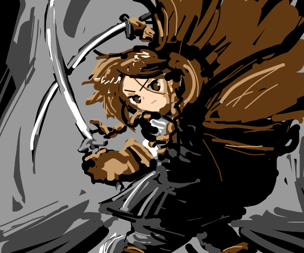 Badass woman dual wielding swords