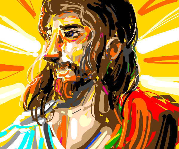 A really colorful jesus looking man