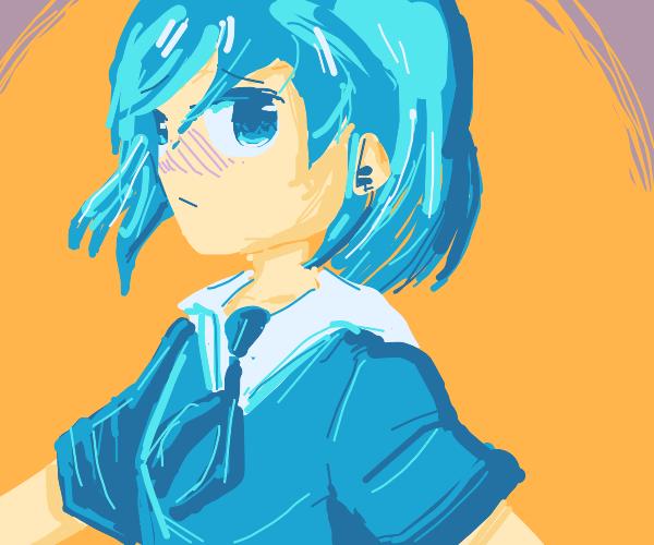 Shy, but cute blue hair anime schoolgirl