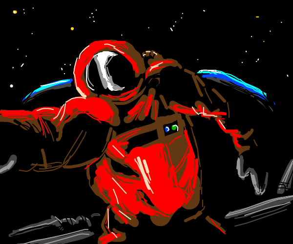 a red astronaut