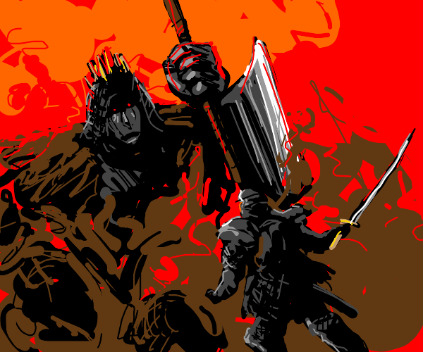 Tiny dude with sword looks up at giant