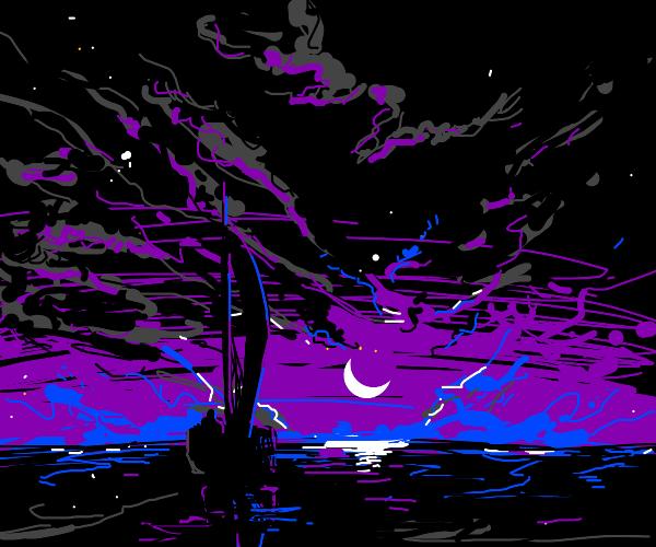 sailboat in sea at night