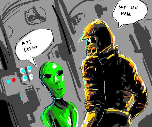 yellow among us character with alien