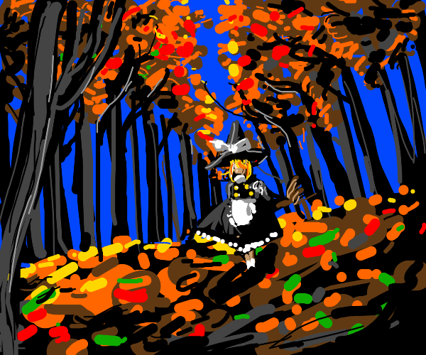 witch in the forest in autumn