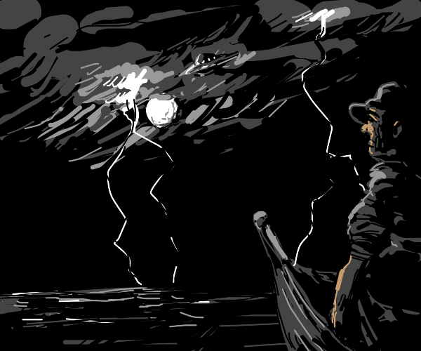 man on small boat. flying saucer. storm night